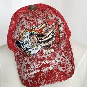 Ed Hardy red bling Vintage tattoo skull / Eagle